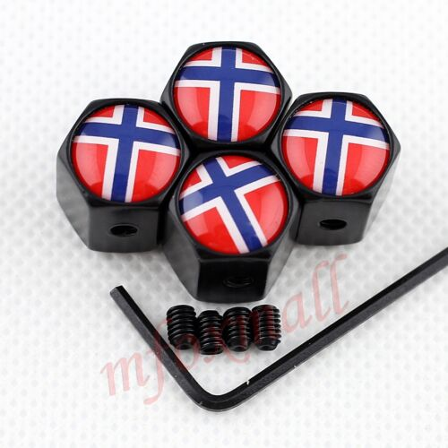 Antitheft Style Car Vehicle Wheel Rim Tire Tyre Valve Stem Cap Norway Flag Badge