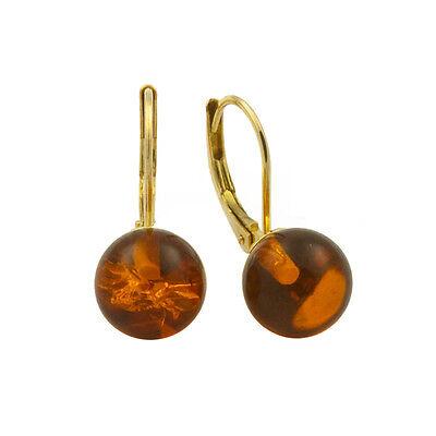 Ohrhänger aus 333 Gelbgold mit 2 Bernsteinkugeln