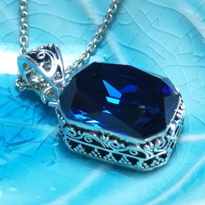 Vintage Blue Sapphire Pendant Statement Necklace Women Jewelry