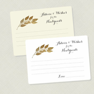 50 Advice Cards for the Newlyweds, Wedding Wish Cards, Gold Leaves, Game Cards