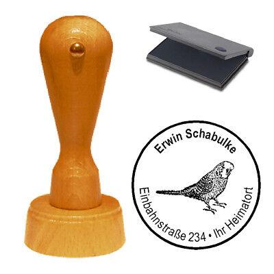 Stempel « Wellensittich » Adressenstempel Motivstempel Holzstempel