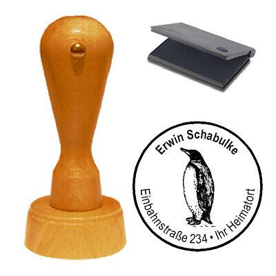 Stempel « Pinguin » Adressenstempel Motivstempel Holzstempel