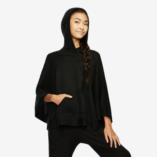 NEW CAPEZIO Sweater Poncho Black T10933C ballet cover frontpocket detail Girls