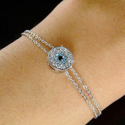 W Swarovski Crystal Baby Blue  Evil Eye Amulet Nazar Flower 2 Chain Bracelet New