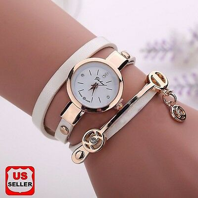 New Womens Fashion Ladies Faux Leather Rhinestone Analog Quartz Wrist Watch  Ak