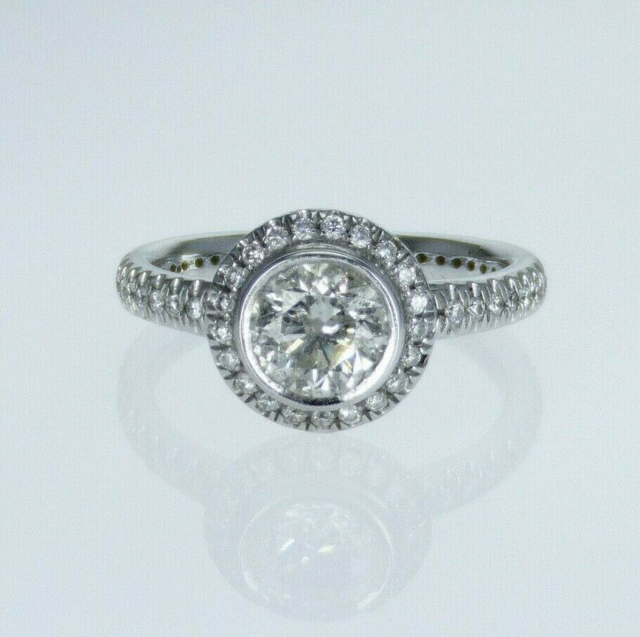 1.42ctw Natural Round Brilliant Diamond Engagement Ring 18k J Color I1 Clarity
