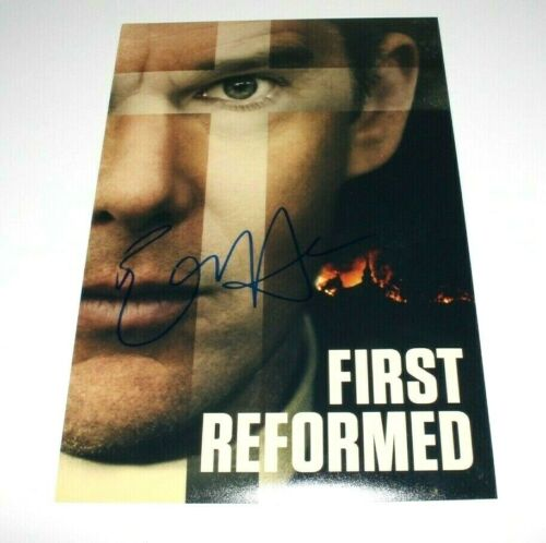 ACTOR ETHAN HAWKE SIGNED 'FIRST REFORMED' 12x18 MOVIE POSTER COA PAUL SCHRADER