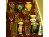 17 Glass & Ceramic Vase's & Specimen Vases, German, Italian & English manufacturers, all A1