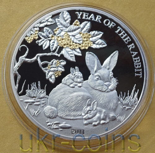 2011 Togo Chinese Lunar Year of the Rabbit 1 Oz Silver Proof Gold Gilded Coin
