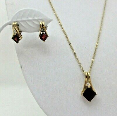Lia Sophia Simulated Ruby Red NECKLACE and EARRING Set Gold Tone EUC ()