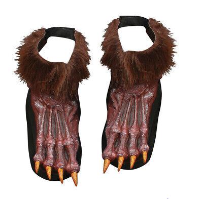 Werwolf Wolf Furry Füße Braun Kostüm Halloween Schuhe Abdeckungen - Werwolf Kostüm Füße
