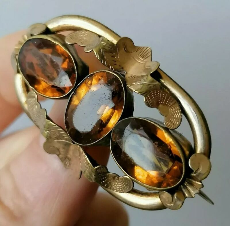Antique Victorian Gold Pinchbeck & Faceted Citrine Paste Old Brooch Pin