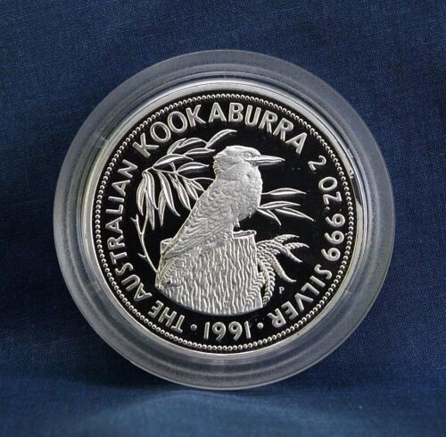 1991 AUSTRALIA KOOKABURRA 2 OZ. PROOF - WITH BOX AND COA