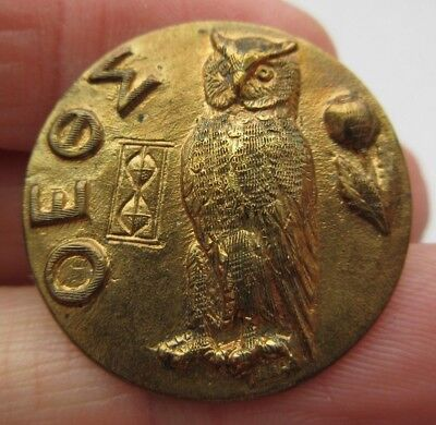 "Excellent Antique~ Vtg Victorian Metal Picture BUTTON OWL Bird 1- 1/8"" (L)"