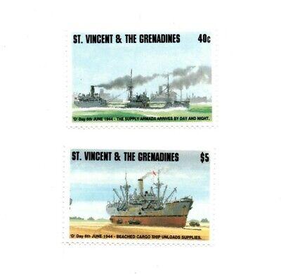St. Vincent 1994 SC# 2084-5 Ships, D Day, War, Cargo - Set of 2 Stamps - MNH