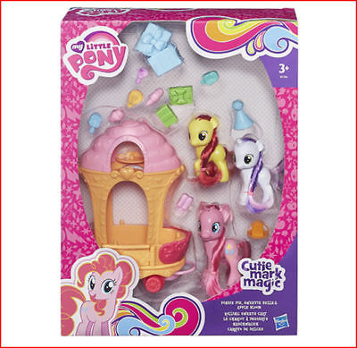 3 PONIES My Little Pony ROLLING SWEETS CART and Pinkie Sweetie Belle Apple Bloom