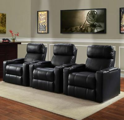 Small Recliner At Home Theater Seats Lounge Chair Black PU Leather Cup Holder