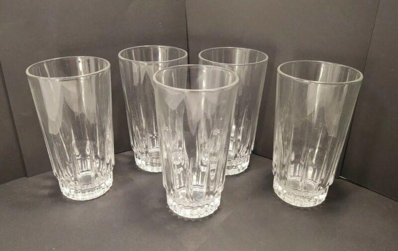 Vintage Arcoroc France 10 Ounce Clear Glass Tumblers lot of 5