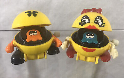 Vintage Tomy -Wind-Up Pac-Man & MS Pac-Man Toys- 1982- Work Great!