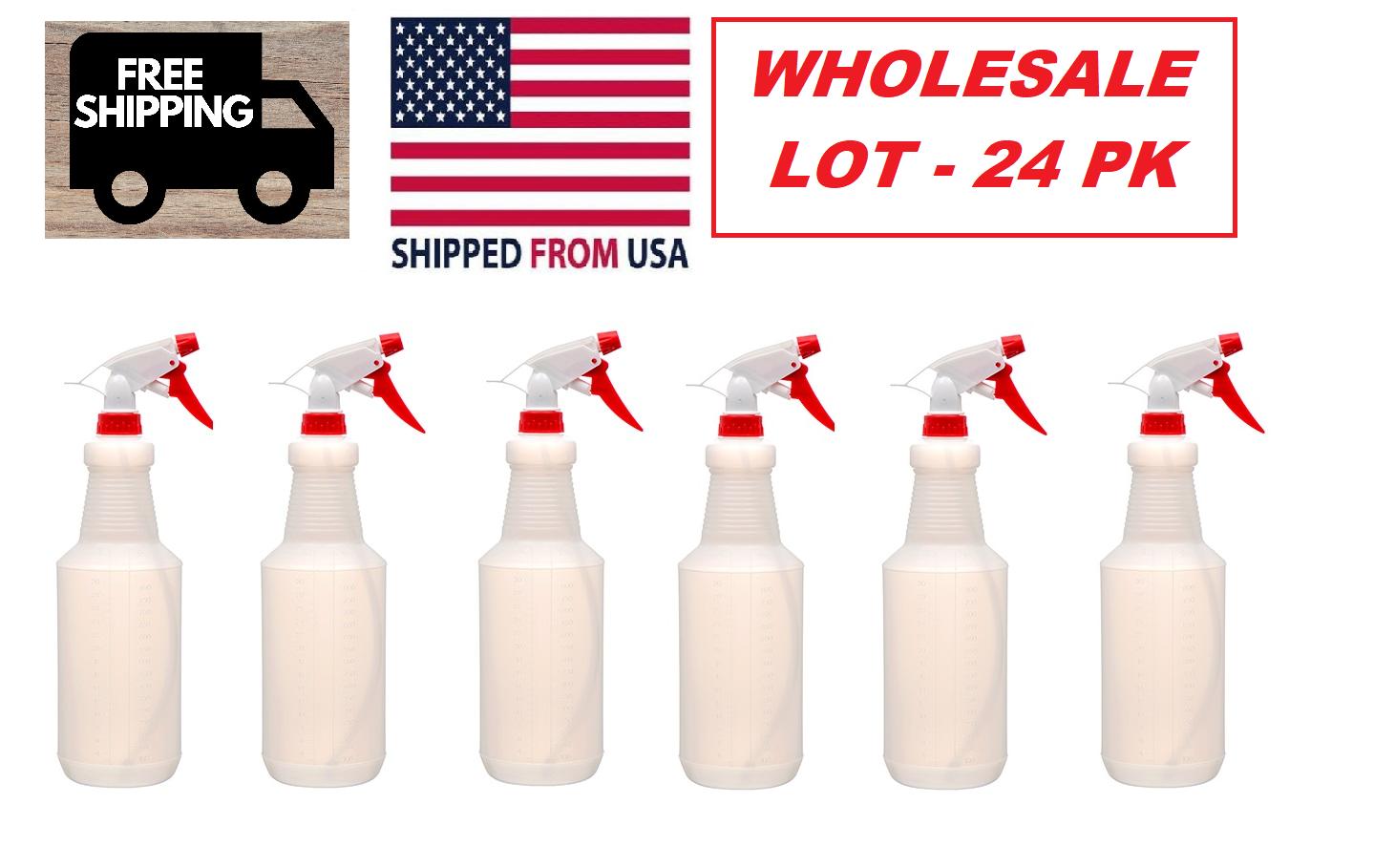 24 Pack Plastic Trigger Spray Bottle 32 oz Heavy Duty WHOLESALE BULK LOT