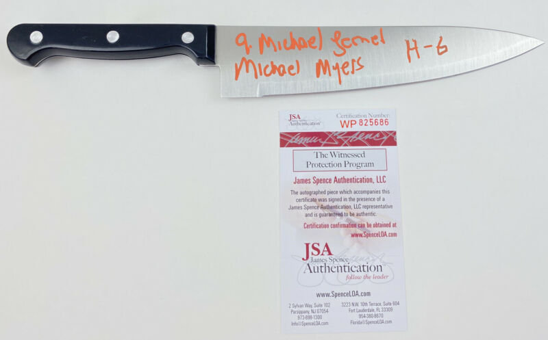 """A MICHAEL LERNER signed REAL 12"""" KNIFE HALLOWEEN 6 The Curse MICHAEL MYERS JSA"""