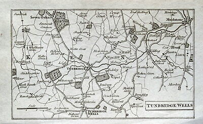 TUNBRIDGE WELLS,MAIDSTONE,KENT Antique Copper Engraved Vintage Map 1804