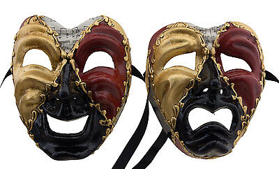 Set of 2 Masks from Venice Volto Commedia Tragedia Musica Paper Mach Black 2270