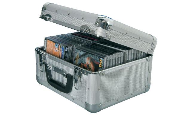 ALUMINIUM CD STORAGE BOX FLIGHT CASE FOR 40 CD'S LOCKABLE DETACHABLE LID 127.064