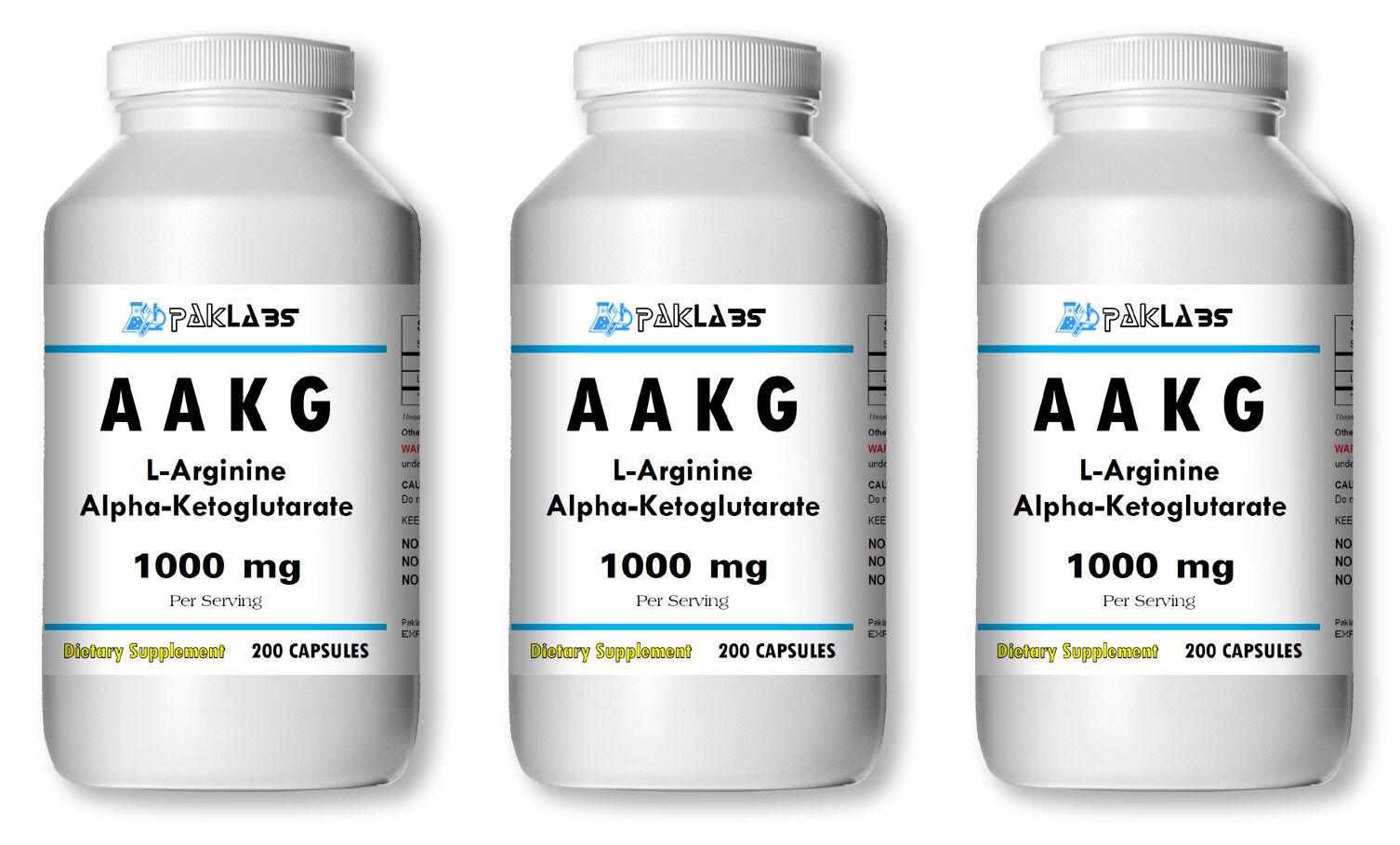 AAKG L-Arginine Alpha-Ketoglutarate 1000mg Big Bottles 120/200/400/600 Capsules