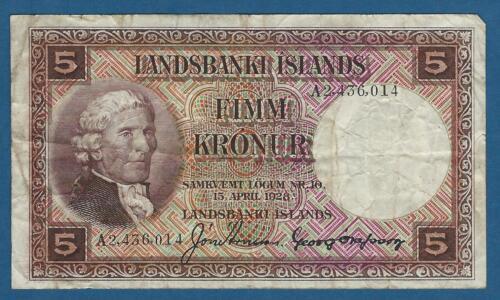 Iceland 5 Kronur L1928 Sig 3 VG