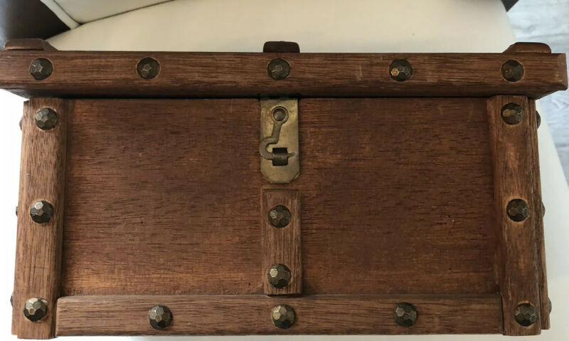 Vintage Small Wood Treasure Chest /Box Studded Heavy