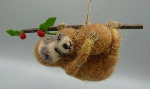 Felted Wool Sloths Ornament
