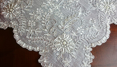 "Organza White Silver Wedding Handmade Beaded Embroidered 51"" Square Tablecloth"