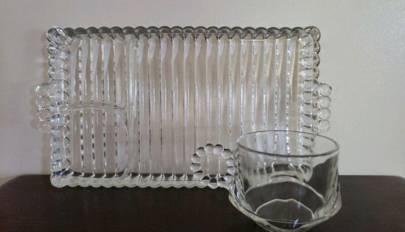 Vintage ~ Hazel Atlas Glass ~ 8 Piece Party ~ Snack Set ~ 4-Cups/4-Plates ~ USA