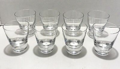 8 Crystal Air Bubble Base Lowball Rock Old Fashioned Cocktail Glasses Heavy Base