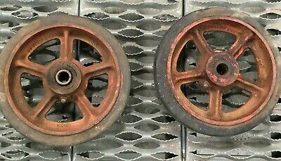 Lot Of 2 Vintage Fairbanks 8 Rubber Caster Wheel W Cast Iron Rim