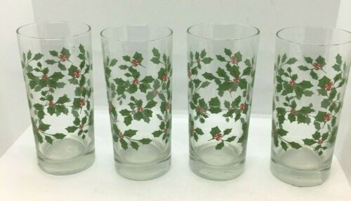 "CHRISTMAS Set of 4 Beverage Glasses Clear w/Holly & Berries 6"" Tall Pretty MINT"