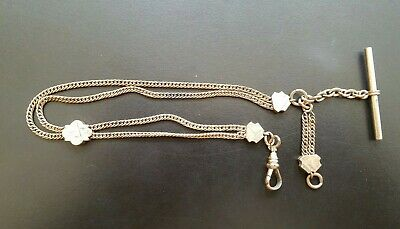 Antique double Albert FOB Pocket Watch Chain with Engraved sliders