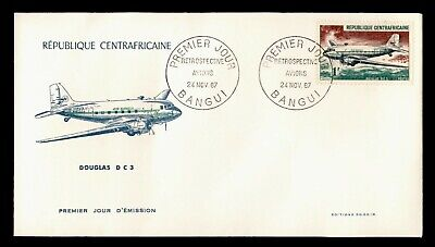 DR WHO 1967 CENTRAL AFRICAN REPUBLIC FDC DOUGLAS DC 3 AIRCRAFT C243282