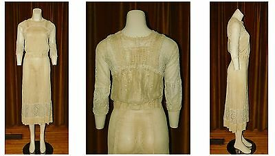 Vintage 1930's Sheer Crepe SILK Embroidered FILET Lace BIAS Cut Dress