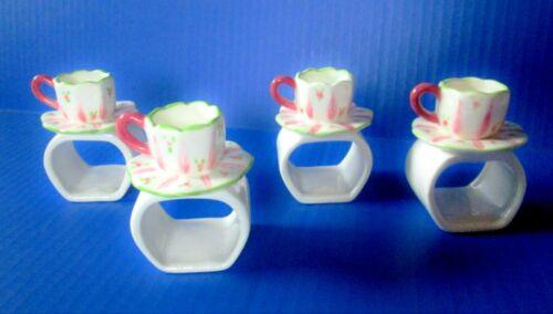 Four Porcelain Teacup Napkin Ring Holders NEW