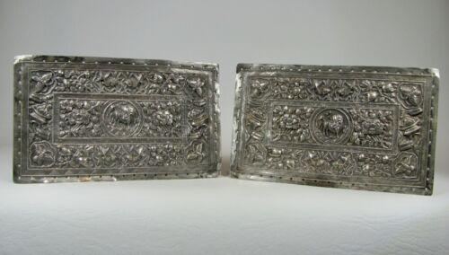 Pair of Antique Peranakan / Nyonya Baba Gilt Silver Bolster / Pillow Plates