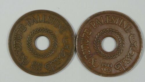 PALESTINE 20 Mils Complete 2-Year Set 1942 & 1944 EXTRA FINE KM#5a