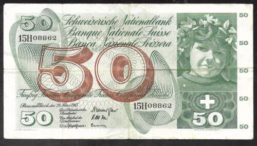 Switzerland Paper Money - 50 Franks Note - 1965 - P48c - VF