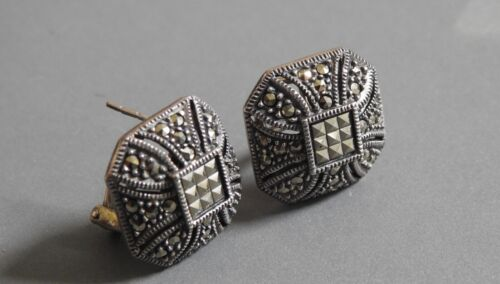 Sterling Silver/Marcasite PIERCED EARRINGS with safety back