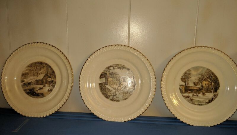 HARKERWARE USA - CURRIER AND IVES - VINTAGE - Plates (Winter Scenes) SET - 3