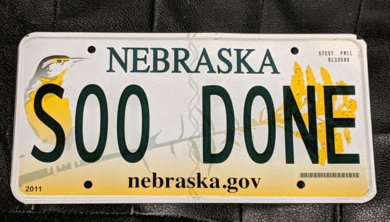 Nebraska Soo Done License Plate