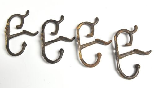 4 UNIQUE THREE PRONG HAT OR COAT WALL MOUNT HOOKS