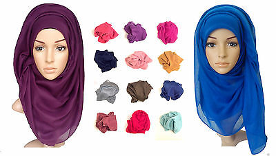 Ladies Big Large Maxi Plain Viscose/Rayon Shawl Scarf Hijab Sarong Wrap Cape