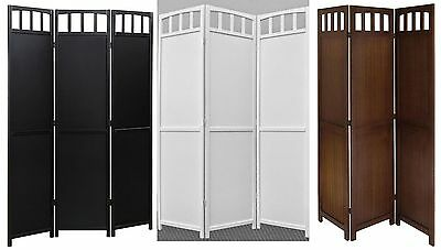 3 Panel Folding Screen Room Divider Solid Wood Black Walnut White 2-way Hinges 3 Panel Black Room Divider